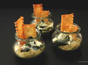 Mafaldone dei Campi croccanti con Hummus di Ceci, Friarielli e Mozzarella di Bufala Campana Dop